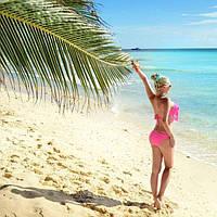 Яркий раздельный купальник с бахромой на лифе и плавках Розовый