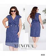 Женское летнее, красивое приталенное платье из лена. Большого размера Р- 54, 56, 58, 60, 62, 64 джинс