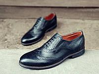 Мужские кожаные туфли броги черные Сhak