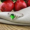 Серебряное кольцо Сабина вставка зеленые фианиты вес 2.1 г размер 18.5, фото 4