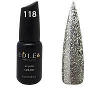 Гель-лак Edlen Professional № 118, 9 мл, серебристая слюда на прозрачной основе