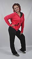 Женский велюровый спортивный костюм больших размеров (черный/розовый)