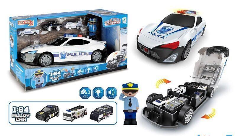 Дитяча поліцейська машина-гараж біла 660 А-206 з світловими і звуковими ефектами