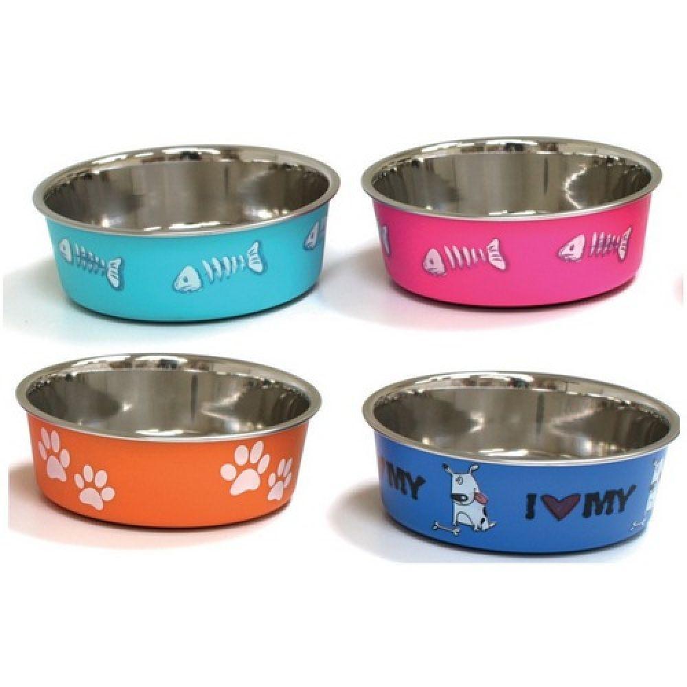Миска для собак и кошек CROCI Roxy принт глазурь, нержавейка, 0,45 л