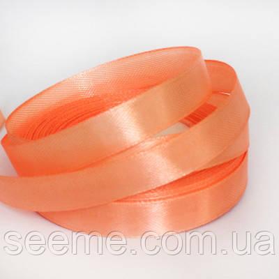 Стрічка атласна 12 мм, колір морквяний