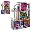 Деревянная игрушка Домик MD 2012 для куклы, 113-74-29 см, 3 этажа, мебель
