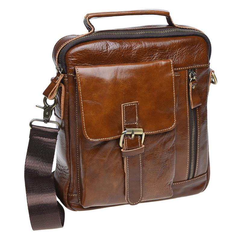 Мужская кожаная сумка через плечо Borsa Leather K15027-brown