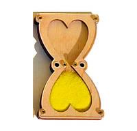 Заготовка Деревянные ПЕСОЧНЫЕ ЧАСЫ 10 см для бизиборда Комплект +Песок Дерев'яний Пісочний годинник Бізіборда Жёлтый