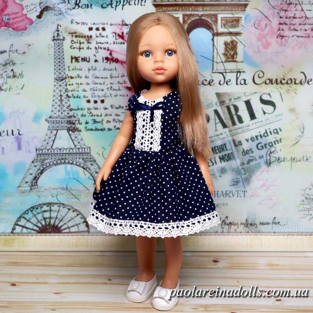"""Платье """"Синие горошки"""" для кукол Паола Рейна"""