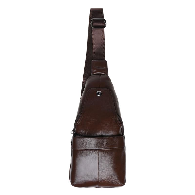 Мужская кожаная сумка-рюкзак слинг Keizer K1685-brown