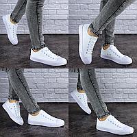 Женские кеды летние белые Flash 1792  текстиль резина  Размер 38 - 24 см по стельке, обувь женская