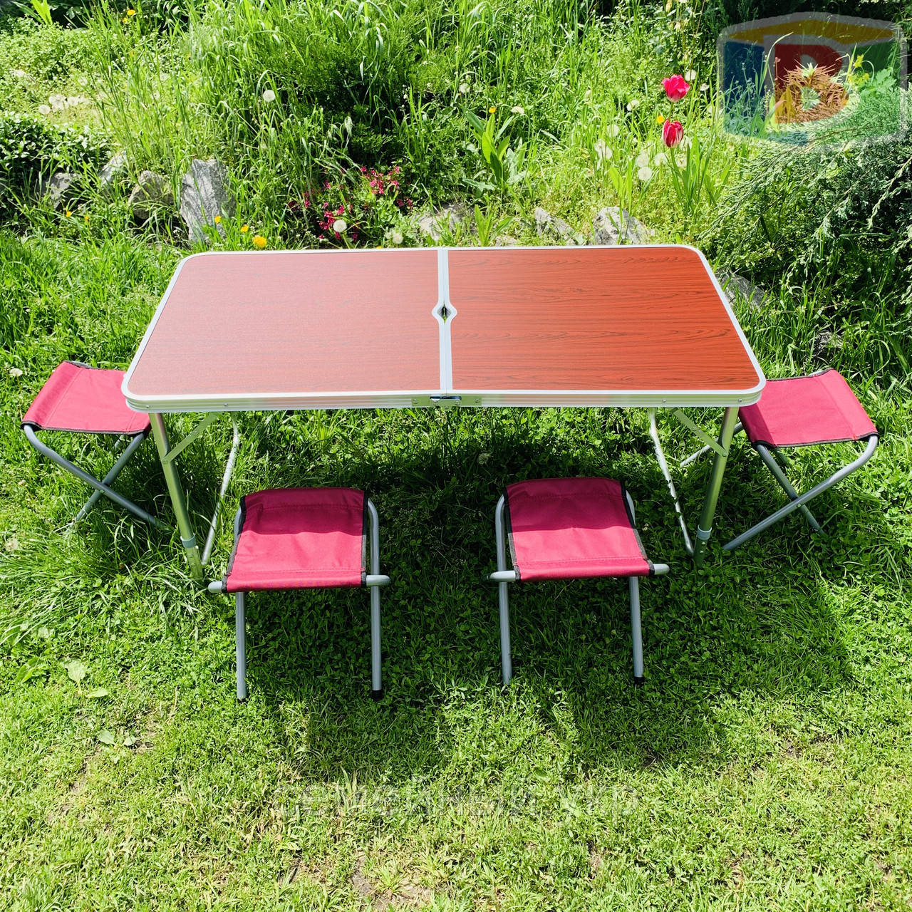 Туристический стол складной + стулья 120х60х70 см. Вес: 7.1 кг. Удобен для переноски. DT-4251