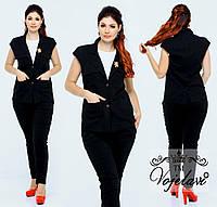 Модный женский стильный летний батальный джинсовый костюм двойка: жакет+брюки (р.48-54). Арт-2211/42