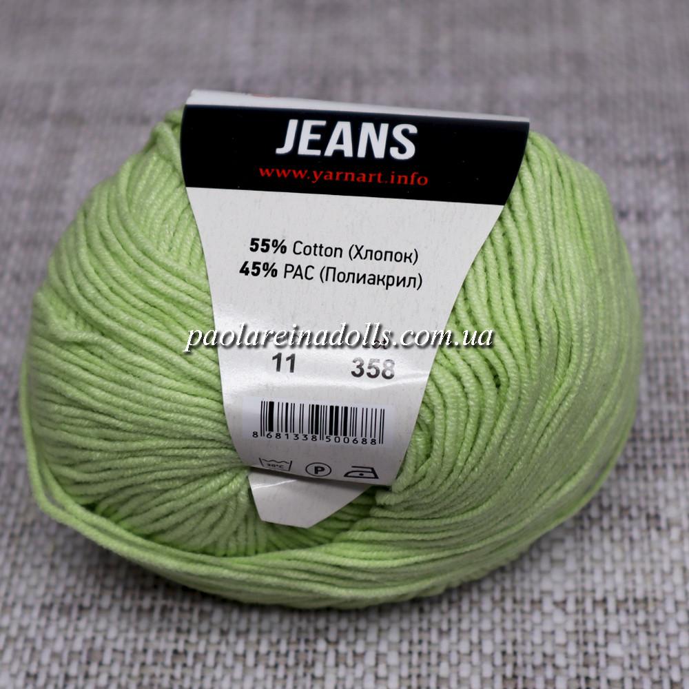Пряжа ЯрнАрт Джинс YarnArt Jeans, цвет №11 салат