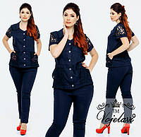 Модный женский стильный летний батальный льняной костюм двойка: рубашка+брюки (р.48-54). Арт-2227/42
