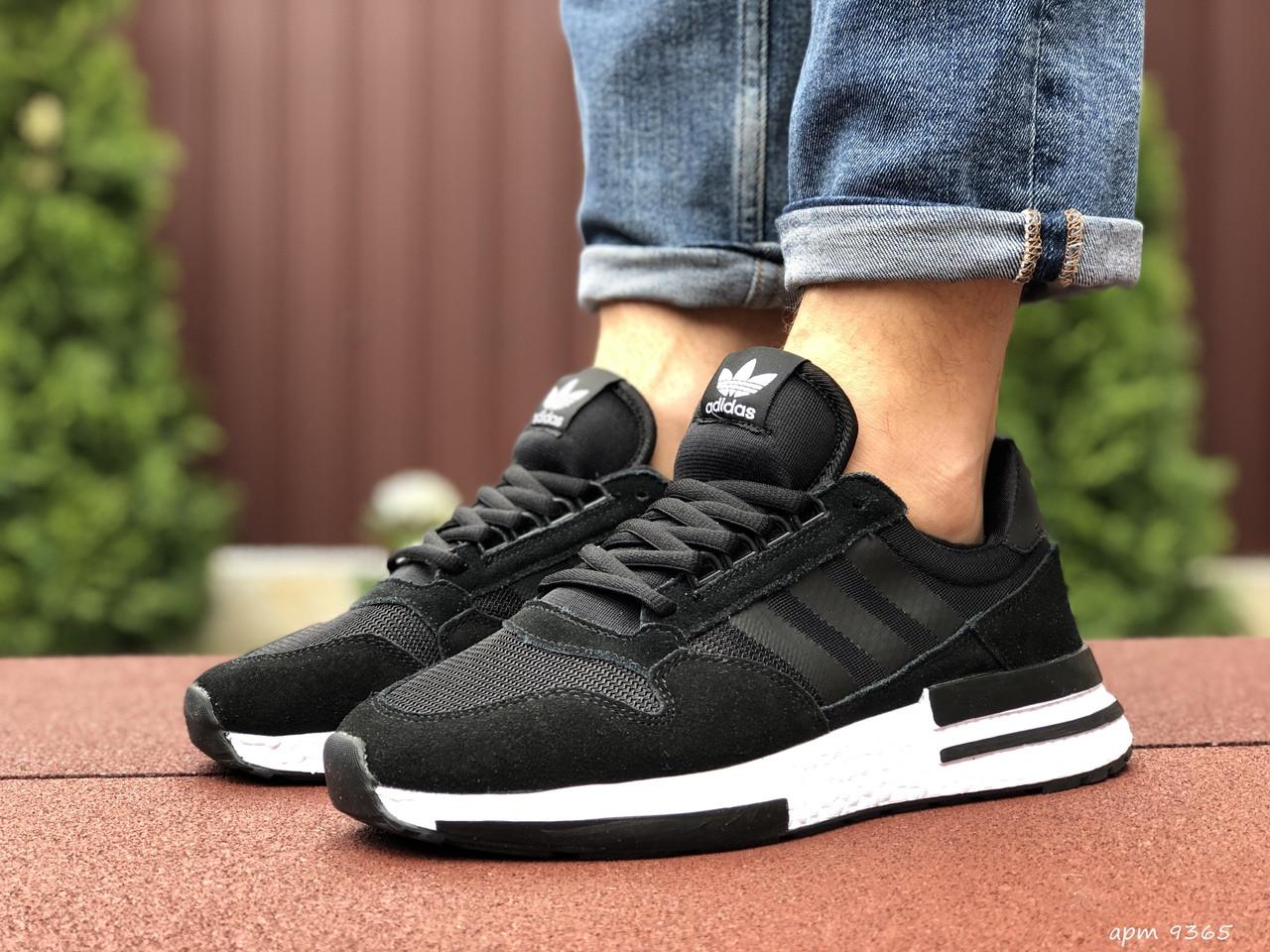 Мужские кроссовки Adidas Zx 500 Rm, черные с белым / кросівки чоловічі адідас (Топ реплика ААА+)