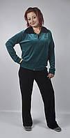 Женский топовый велюровый спортивный костюм больших размеров (черный/зеленый)