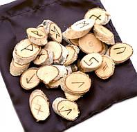"""Набор деревянных рун для гадания с аннотацией """"Срез Берёза"""" 3,5 * 2см."""