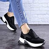 Кросівки жіночі чорні еко - замша, фото 3