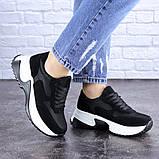 Кросівки жіночі чорні еко - замша, фото 4