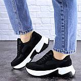 Кросівки жіночі чорні еко - замша, фото 5