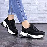 Кросівки жіночі чорні еко - замша, фото 6