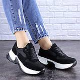 Кросівки жіночі чорні еко - замша, фото 7