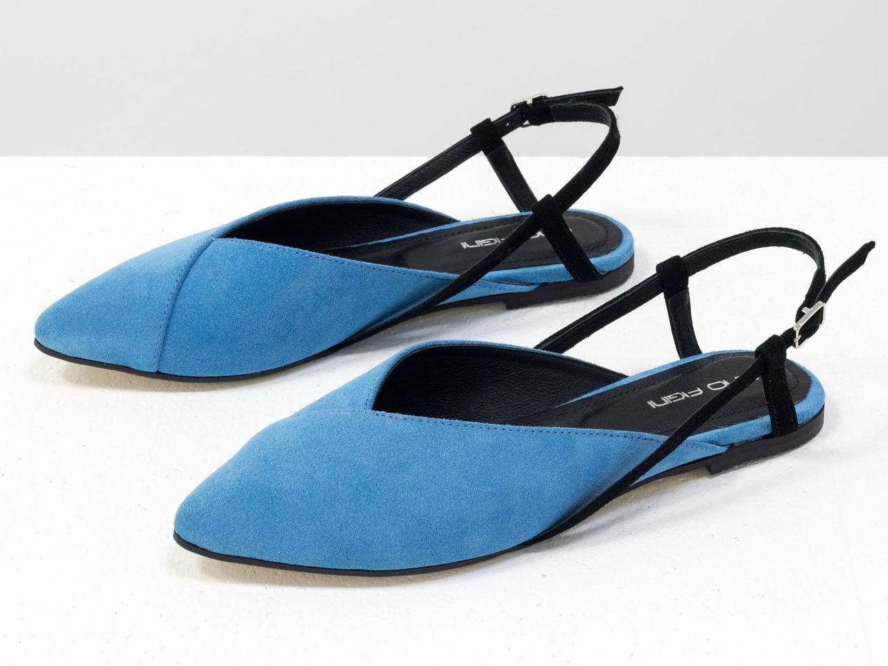 Балетки из натуральной итальянской замши-велюр голубого цвета
