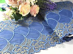 Кружево стрейчевое гипюр 17 см цвет синий