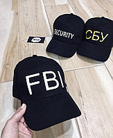 Черные хлопковые Кепки\Бейсболки с принтом - FBI \ SECURITY \ СБУ