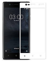 Защитное стекло 2.5D для Nokia 3 (0.3mm, 2.5D, с олеофобным покрытием) Белый