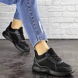 Летние кроссовки женские черные сетка, фото 4