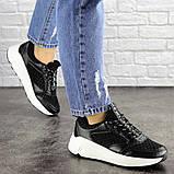 Летние кроссовки женские черные эко - кожа, сетка, фото 2