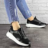 Летние кроссовки женские черные эко - кожа, сетка, фото 3