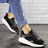Летние кроссовки женские черные эко - кожа, сетка, фото 4