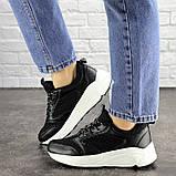 Летние кроссовки женские черные эко - кожа, сетка, фото 6