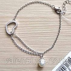 Серебряный браслет  Сердце с жемчужной подвеской