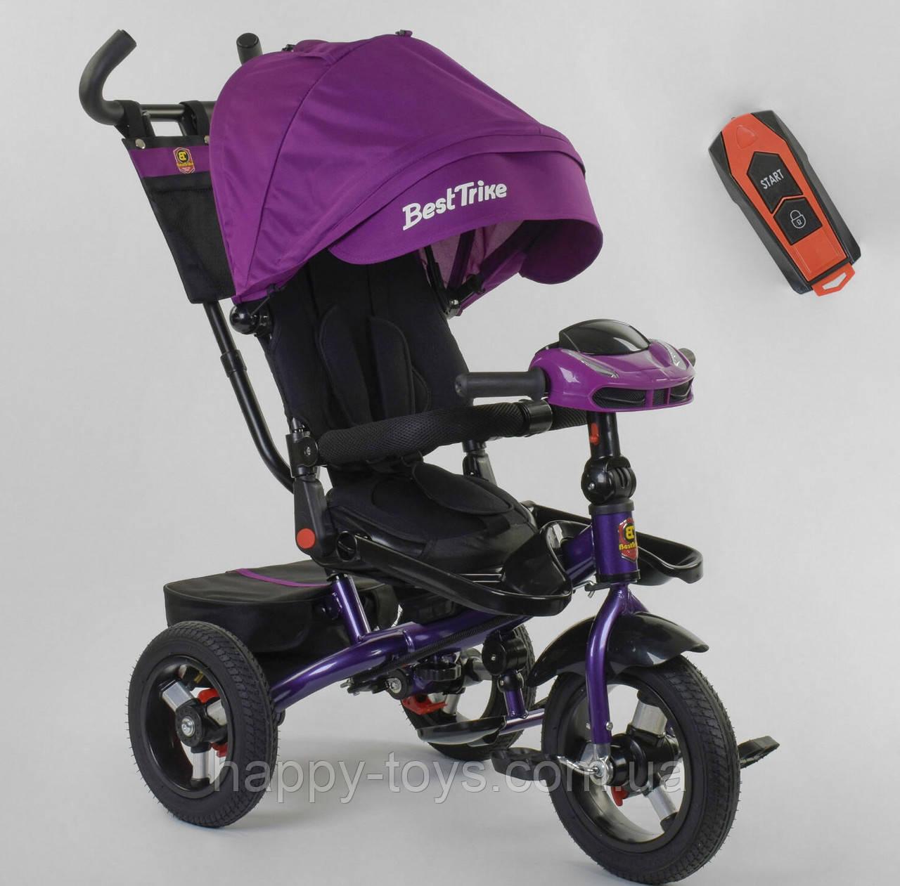 Велосипед 3-х колёсный, ФИОЛЕТОВЫЙ, Best Trike, фара с USB, пульт, надувные колеса, звук русский 6088 F-01-570