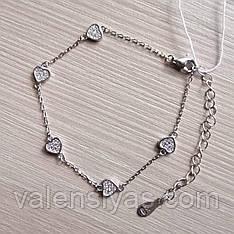 Женский браслет из серебра с сердечками