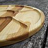 Менажница деревянная 35 см. круглая на 5 секций с соусницей из черешни, ясеня, фото 4