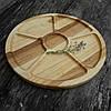 Менажница деревянная 35 см. круглая на 5 секций с соусницей из черешни, ясеня, фото 6