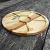 Менажница деревянная 35 см. круглая на 5 секций с соусницей из черешни, ясеня, фото 3