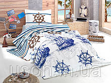 Комплект постельного белья с вафельным покрывалом 160*240 Pike TM Aran Clasy Marine