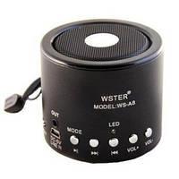 Колонка Мини портативная WSTER WS-A8 с MP3, USB и FM-pадио ЧЕРНЫЙ