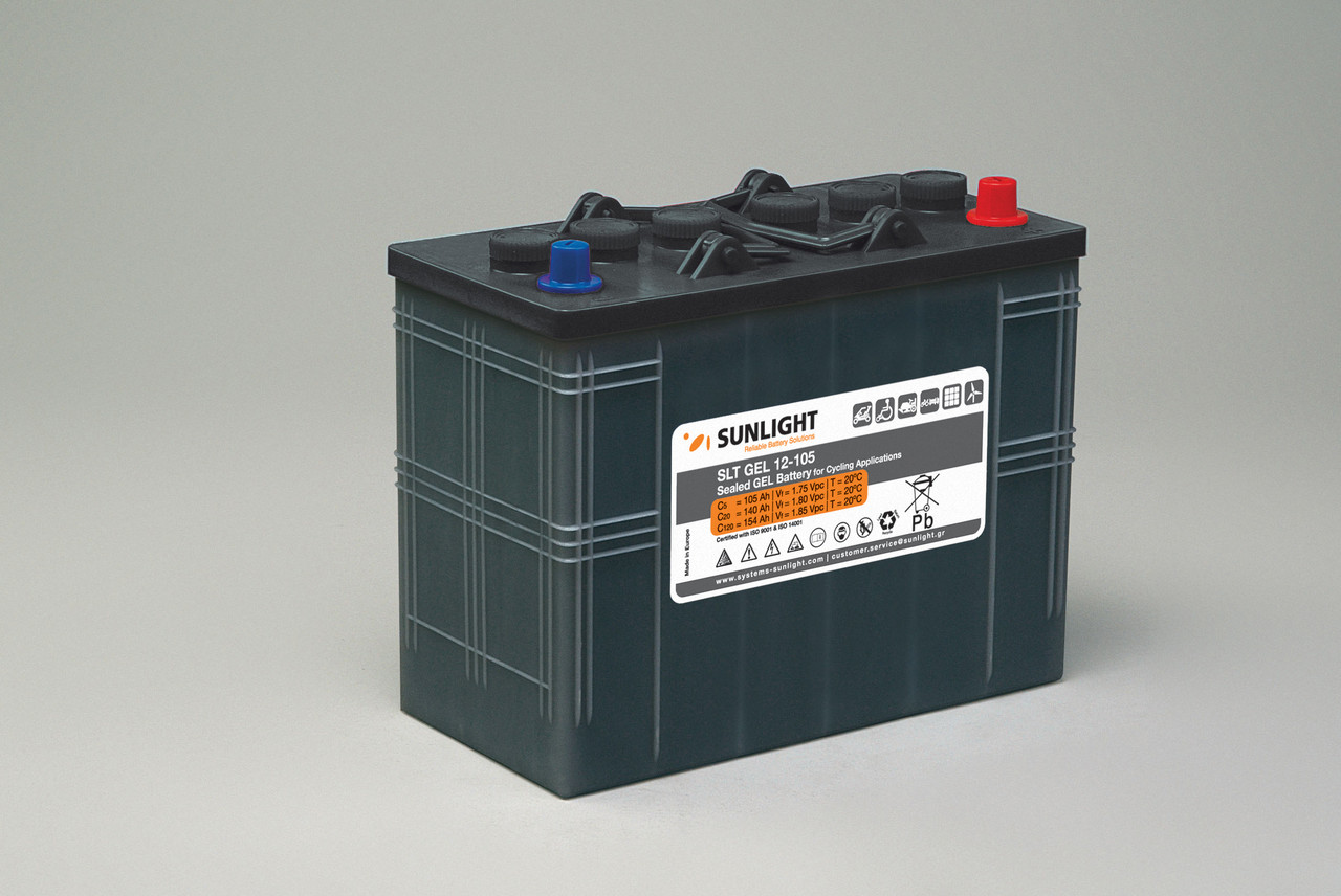 Гелевый тяговый аккумулятор Sunlight SLT GEL 12-105, 12 Вольт, 105Ач