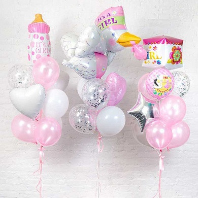 Композиция из гелиевых шаров с ножкой для девочки
