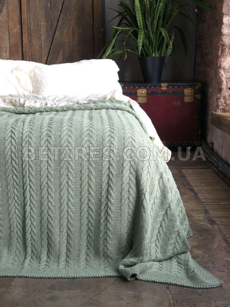 Покрывало вязаное 170x240 BETIRES BREMEN GREEN зеленое