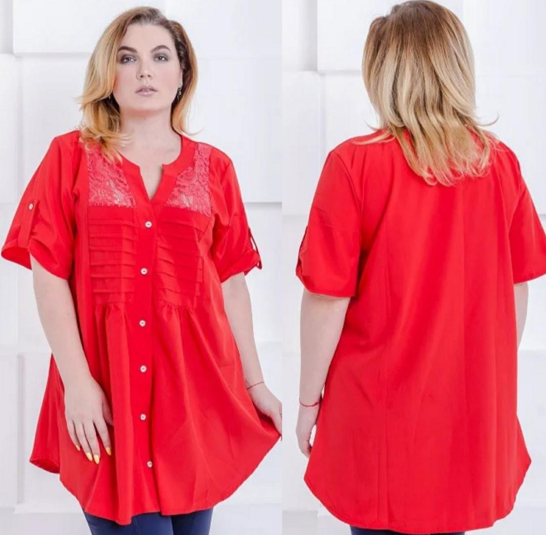 Летняя свободная блузка большого размера красная