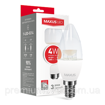 Лампочка светодиодная 1-LED-5314 C37  CL-С 4W 4100K 220V E14