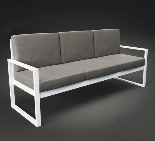 Металлический трехместный диван с мягким сидением 700*2130 Час Пик ТМ Tenero
